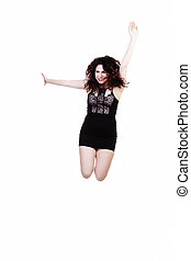 Caucasian Woman Jumping In Black Dress White Background