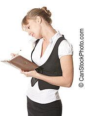 Caucasian woman making notes