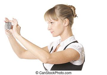 Caucasian woman making shot sideview
