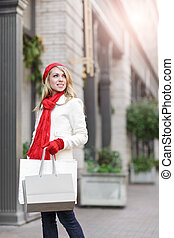 Caucasian woman shopping - A shopping caucasian woman...