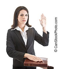 Caucasian Woman Swearing on a Bible Isolated White Background