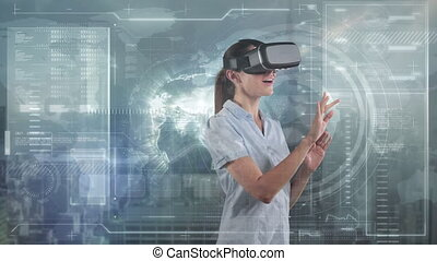 Animation of Caucasian woman wearing VR headset over globe spinning, data processing. Global economy and technology concept digital composite