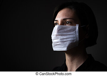 Caucasian woman wearing a white medical mask for protection ...