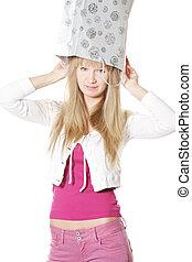 Caucasian woman wearing bag on