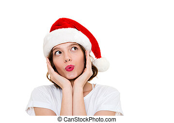 Caucasian woman wearing christmas hat standing isolated