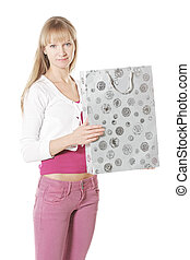 Caucasian woman with bag