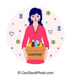 woman with donations food box