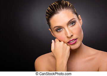 caucasian woman with fresh makeup