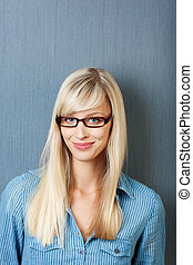 Caucasian woman with glasses