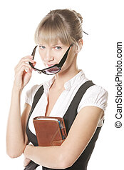 Caucasian woman with leather notebook
