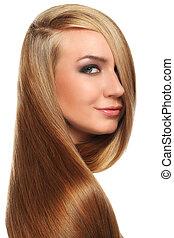 Caucasian woman with long beautiful hair