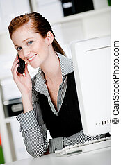 Caucasian Woman with Phone - An attractive caucasian woman ...