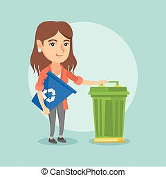 Caucasian woman with recycle bin and trash can.
