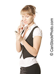 Caucasian woman with watch and phone
