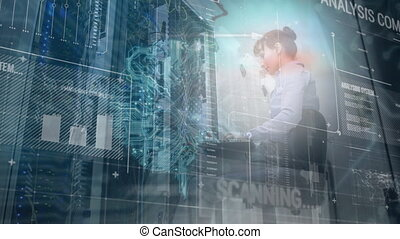 Caucasian woman working in a server room with scrolling data and glowing processor