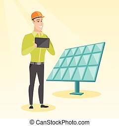 Caucasian worker of solar power plant. - Engineer working on...