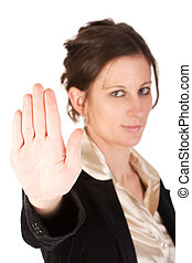 Caucasian young female motioning to stop - Brunette business...