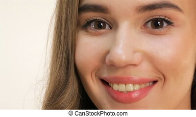 Caucasian young girl close up portrait