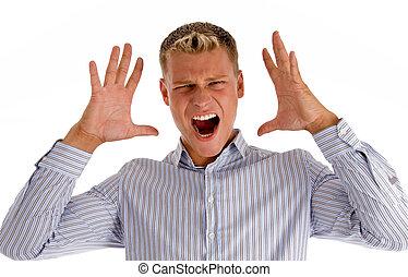 caucasian young man shouting