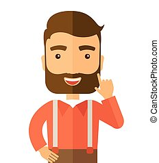 A Caucasian young successful man happy raising his one arm showing that he is number one. Winner concep A contemporary style. Vector flat design illustration with isolated white background. Square