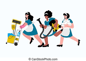 Caucasian,african-american hotel maids in uniform hurry to clean up in hotel room.Vector illustration.