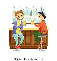 caucasiano, branca, amigos, bebendo, cerveja, em, um, bar.