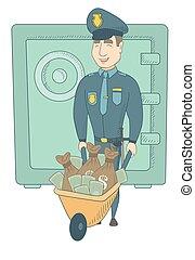 caucasiano, dinheiro., jovem, confiscated, policial