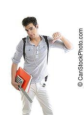 caucasiano, estudante, preocupado, com, negativo, gesto
