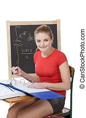 caucasiano, estudante universitário, mulher, estudar, matemática, exame