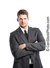 caucasiano, homem negócios