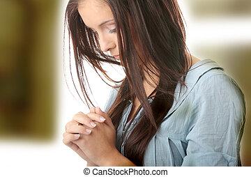 caucasiano, mulher, jovem, orando