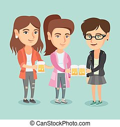 caucasico, amici, clanging, occhiali, di, beer.