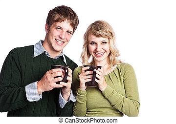 caucasico, coppia, tenere caffè, campanelle