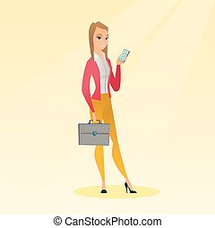 caucasico, donna affari, presa a terra, uno, mobile, telefono.