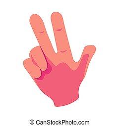 caucasico, mano umana, esposizione, v, per, segno vittoria, trionfo, simbolo
