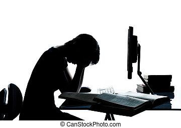 caucasico, o, taglio, silhouette, isolato, calcolare, studiare, laptop, stanco, giovane, triste, disperazione, computer, studio, adolescente, fondo, ragazzo, ragazza, uno, bianco fuori