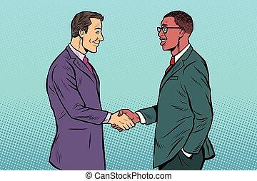 caucasico, stretta di mano, uomini, uomini affari, africano