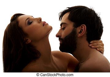 caucasico, uomo, baciare, donna, neck.