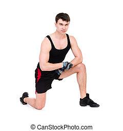 caucasico, uomo esercita, allenamento, idoneità
