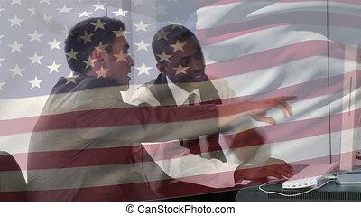 caucasien, animation, africaine, sur, onduler drapeau, américain, hommes affaires