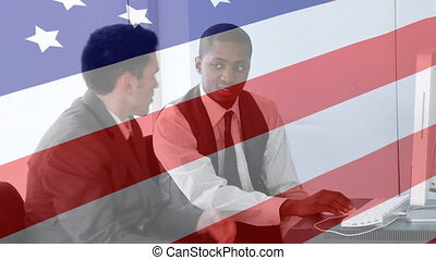 caucasien, animation, africaine, sur, onduler drapeau, fonctionnement, américain, hommes affaires