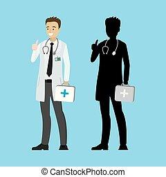 caucasien, dessin animé, silhouette, docteur