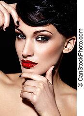 caucasien femme, maquillage, brunette, mode, fascination, propre, jeune, closeup, beau, lèvres, portrait, look., peau, parfait, élevé, sexy, modèle, rouges, clair