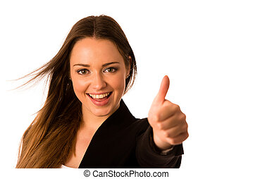 caucasien, femme, reussite, business, projection, preety, asiatique, faire gestes