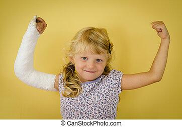 caucasien, girl, bandage, main