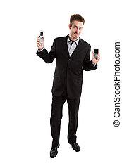 caucasien, homme affaires, à, cellule téléphone