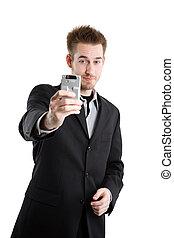 caucasien, homme affaires, à, téléphone appareil-photo