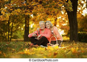 caucasien, personnes âgées accouplent