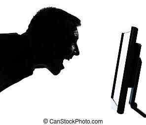 caucasien, silhouette, business, heureux, écran, isolé, une...