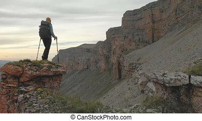 caucasus, back., wandelende, episch, luchtopnames, vlucht,...